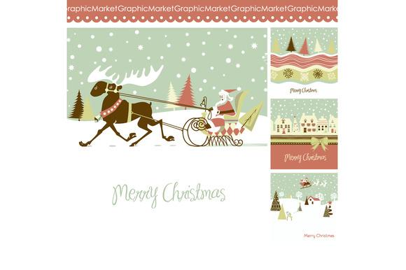 4 Christmas Cards Houses Reindeer