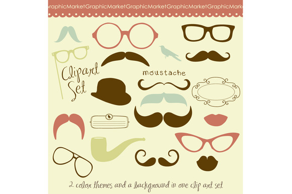 Mustache Spectacles And Lips Kiss
