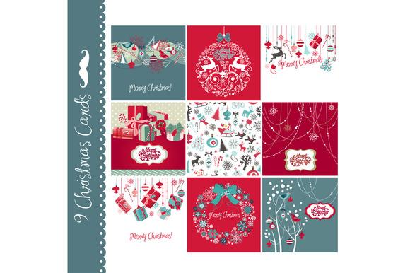 9 Christmas Hand Drawn Cards