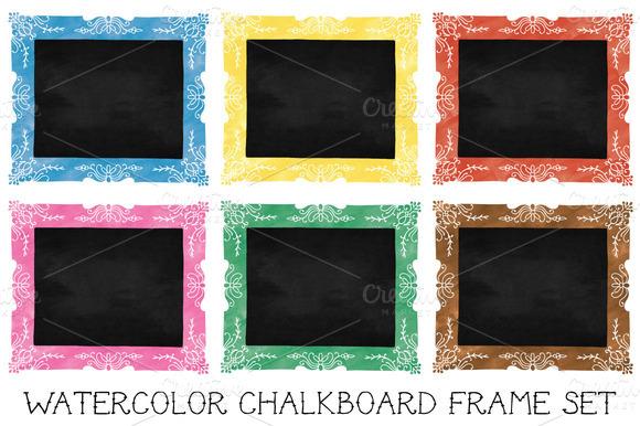 Watercolor Chalkboard Frames