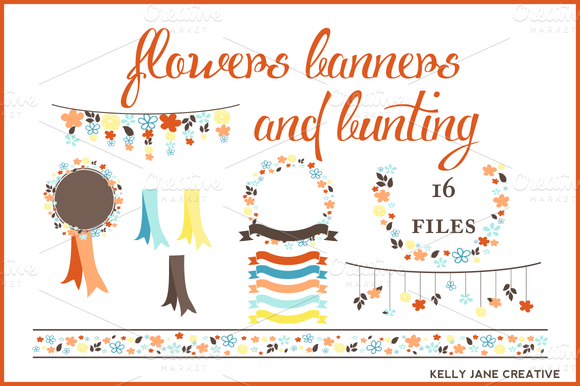 Flowers Banners Bunting Autumn