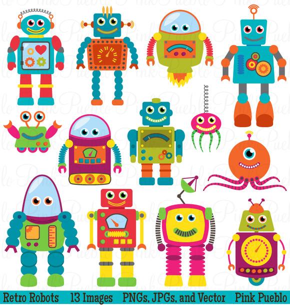 Retro Robots Clipart Vectors