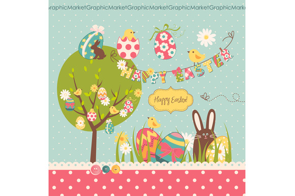 Easter Clip Art Retro Easter Eggs