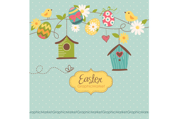 Easter Clip Art Birds Retro Eggs