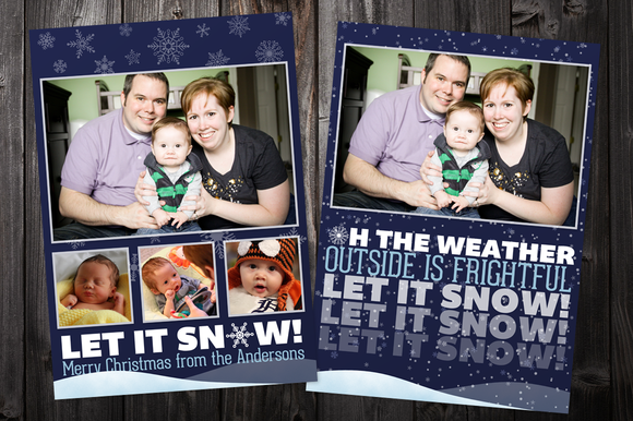 Let It Snow 5x7 Xmas Card Template