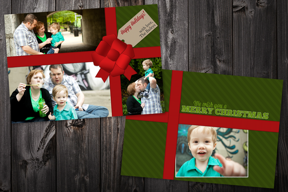 Ribbon 5x7 Xmas Card Template