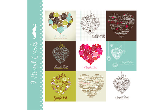 Card Set Of 9 Designs Hearts