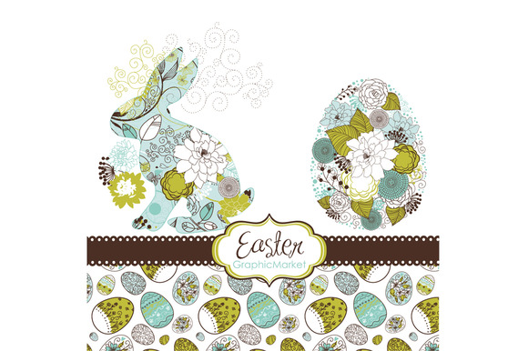 Easter Bunny Digital Clip Art Eggs