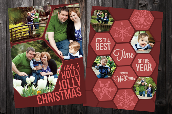 Hex 5x7 Xmas Card Template