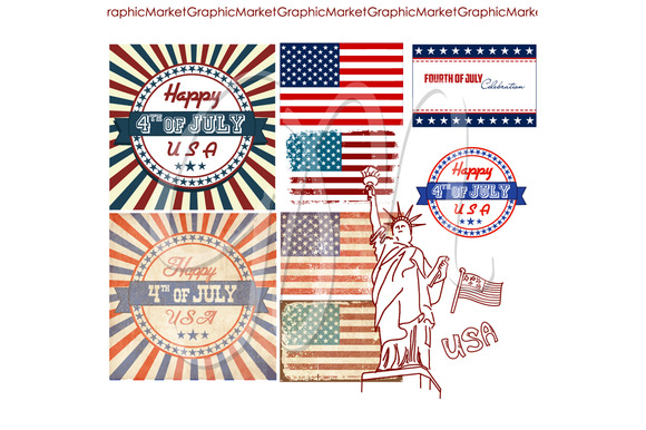 4th Of July Clip Art Set USA Flags