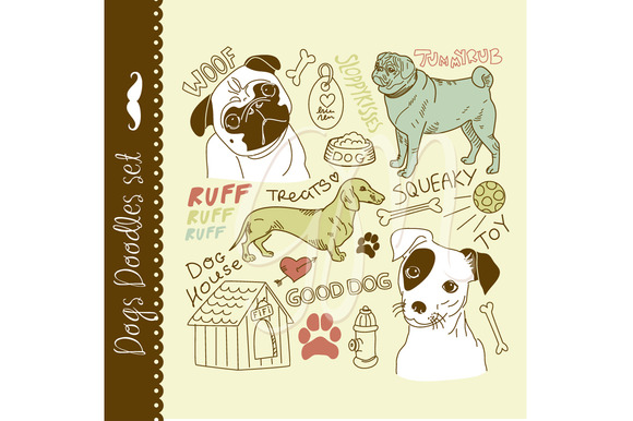 24 Dogs Clip Art Elements Pug Puppy