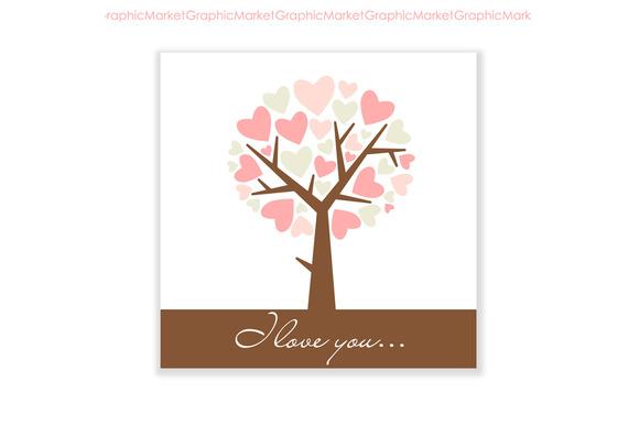 Hand Drawn I Love You Card Tree