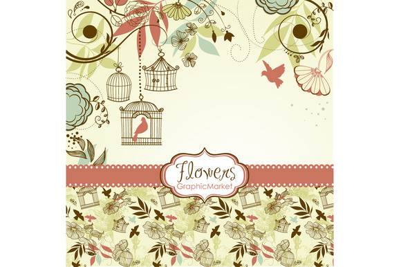 14 Flower Designs And A Background