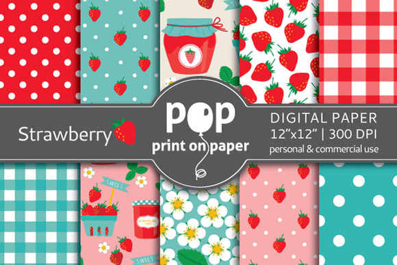 Strawberry 10 Digital Papers