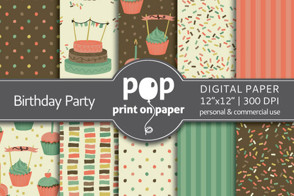 Birthday Party- 10 Digital Papers