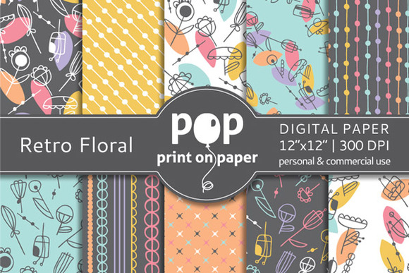 Retro Floral 10 Digital Papers
