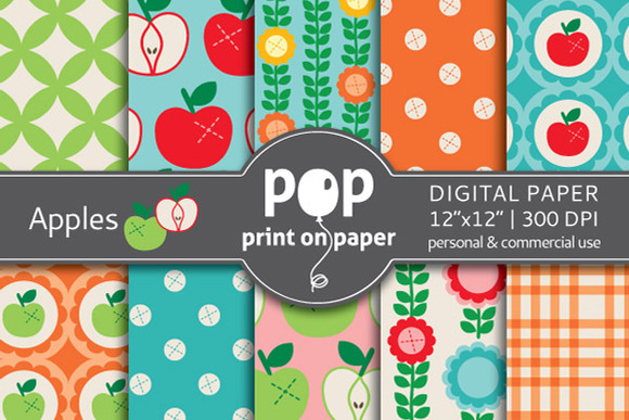 Apples 10 Digital Papers
