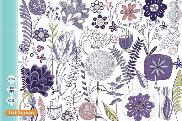 Mod Flower Clip Art Purple