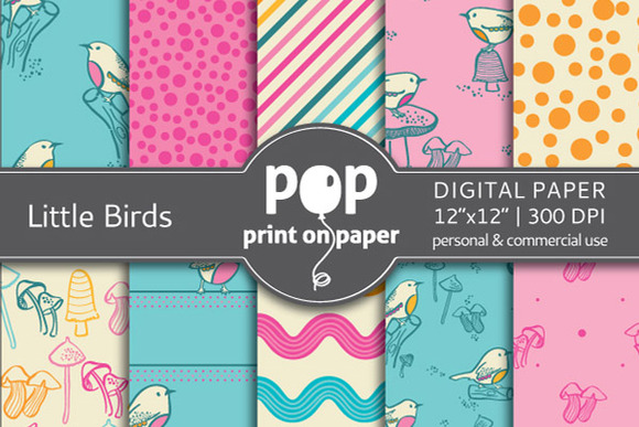 Little Birds 10 Digital Papers
