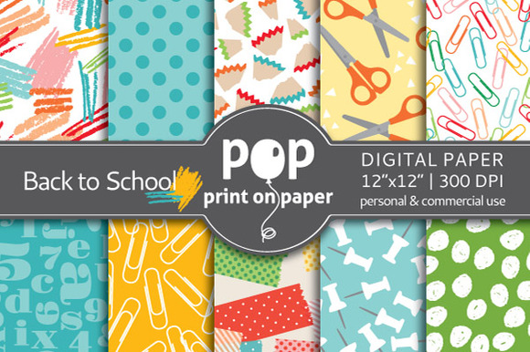 Back To School 10 Digital Papers