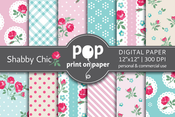Shabby Chic 12 Digital Papers
