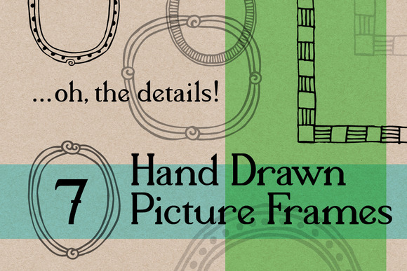 7 Hand Drawn Vector Bitmap Frames