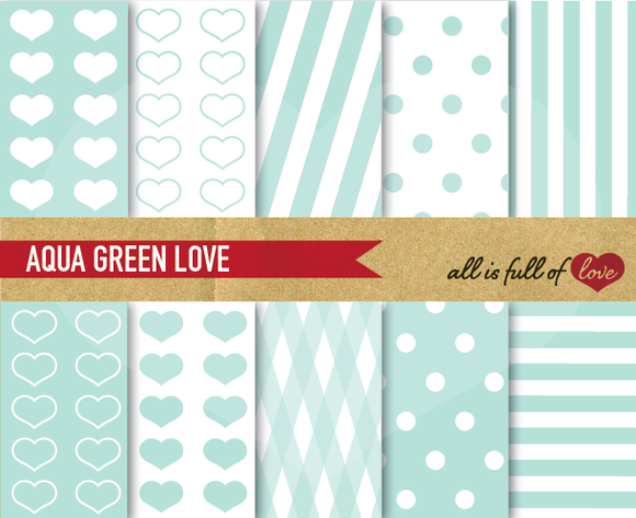 Mint Digital Scrapbooking Patterns