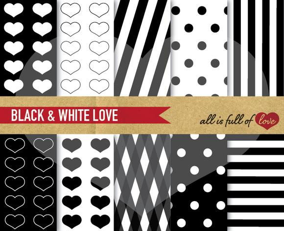 Black White Digital Patterns