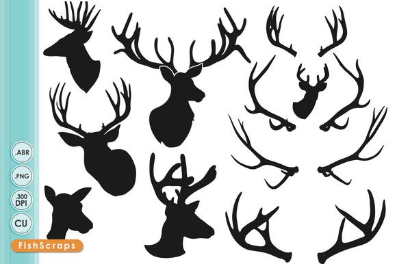 Deer Head Silhouettes ClipArt