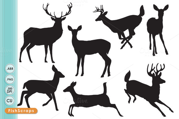 Deer Silhouettes ClipArt Brushes