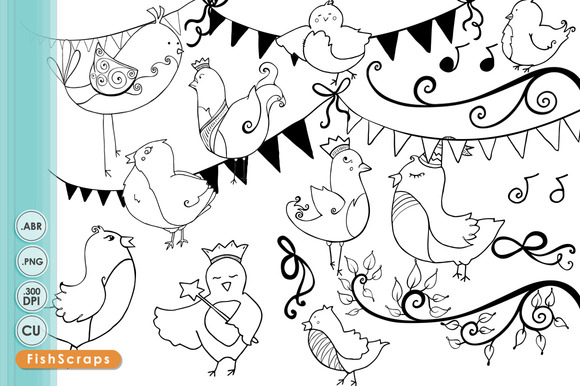 Bird Doodles Whimsical Outlines