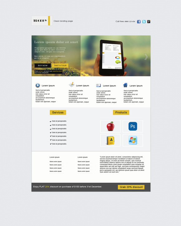Trophy PSD Landing Page