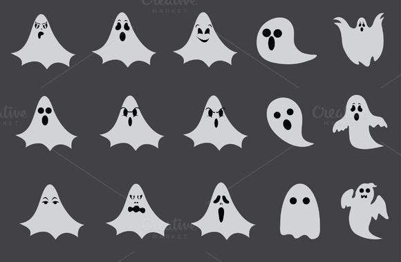 Halloween Ghost Vector Set 15