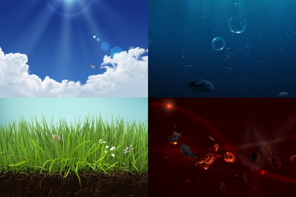 Clouds Grass Fire And Water PSD