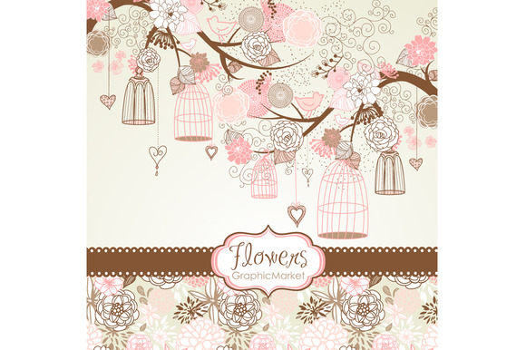 Flower Birds Clip Art Digital Paper