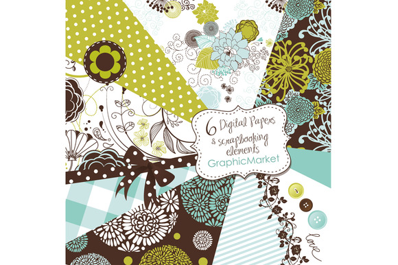 Scrapbook Papers Set Retro Patterns