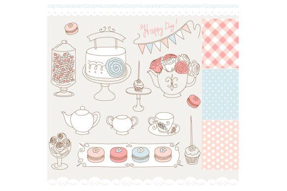 Hand Drawn Cake Tea Party Macron