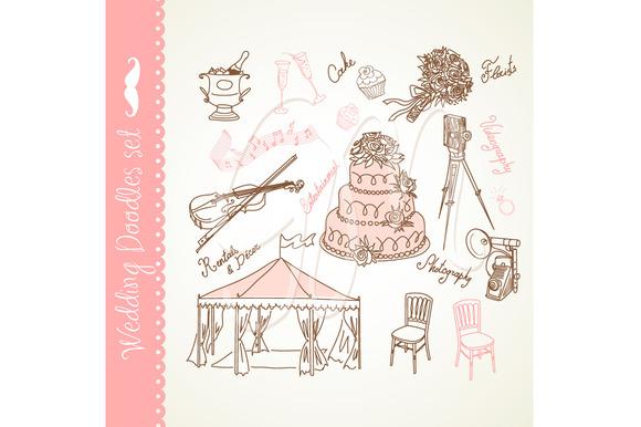 Elegant Wedding Clip Art Doodles