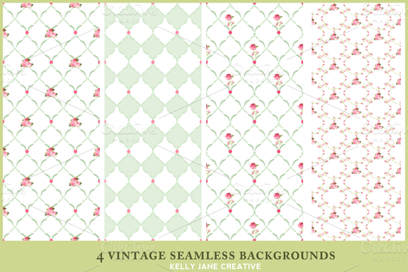 Vintage Rose Seamless Patterns