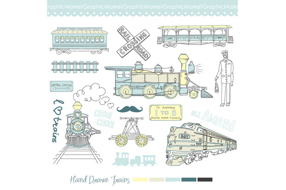 16 Train Clip Art Vintage Choo Choo