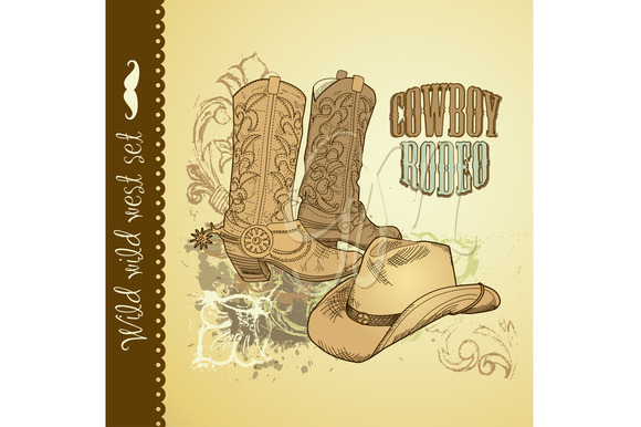 Cowboy Hand Drawn Wild West Card