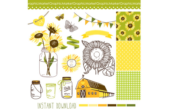 Sunflowers Mason Jars Digital Papers
