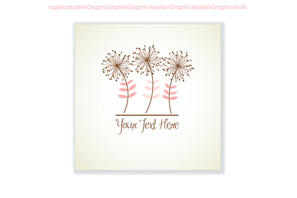 Floral Logo Hand Drawn Card Flower