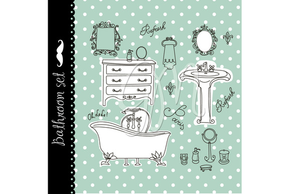 Vintage Bath Clip Art Spa Bathroom