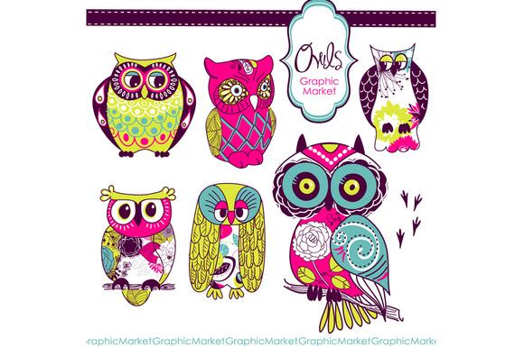 Woodland Owls Retro Clip Art