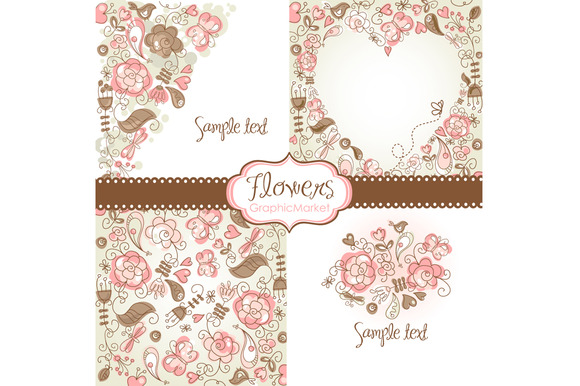 4 Floral Template Designs Clipart