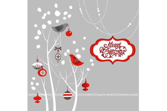 Christmas Clip Art Birds Tree