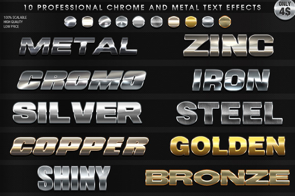 10 Pro Chrome And Metal Text Effects