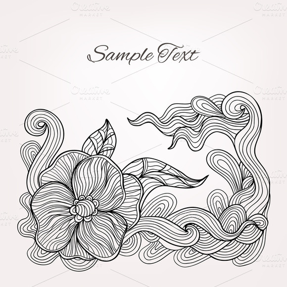 Vector Card With Floral Doodle