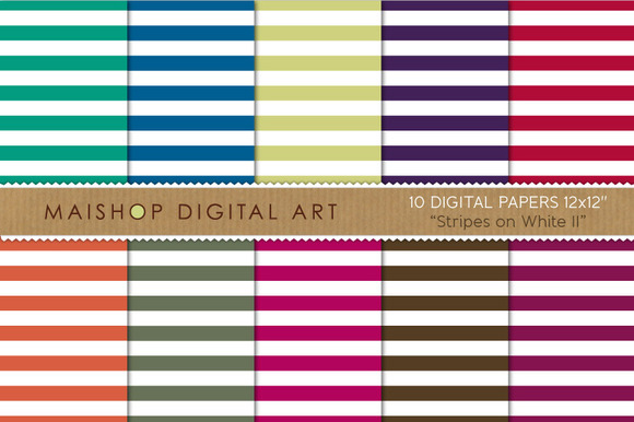 Digital Papers-Stripes On White II